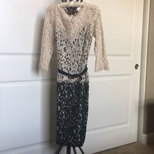 Black and Cream Beautiful Lace 3/4 Sleeves Dress